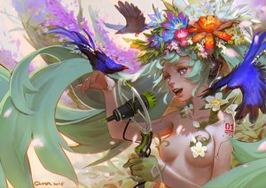 Rating: Questionable Score: 107 Tags: animal aqua_hair bird blue_eyes breasts flowers gloves hatsune_miku long_hair microphone qmo_(chalsoma) signed twintails vocaloid User: luckyluna