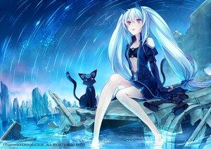 Rating: Safe Score: 195 Tags: animal animal_ears barefoot blue_eyes blue_hair cat catgirl kirishima_ray long_hair mikuni_(mikunik) night tail twintails water User: Flandre93