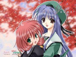 Rating: Safe Score: 9 Tags: 21 blue_hair brown_eyes futami_mio green_eyes ichinose_konoha long_hair pink_hair school_uniform short_hair User: oranganeh