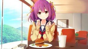 Rating: Safe Score: 126 Tags: akabeisoft3 brown_eyes drink food game_cg pink_hair school_uniform sorairo_innocent tsubaki_ami twintails unasaka_ryou User: mattiasc02