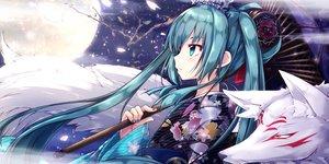 Rating: Safe Score: 20 Tags: akino_coto animal fox hatsune_miku japanese_clothes kimono moon umbrella vocaloid User: FormX