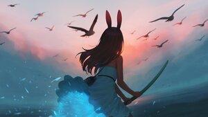 Rating: Safe Score: 55 Tags: animal bird black_hair bunnygirl clouds dress kamu_kame magic original water User: Maboroshi