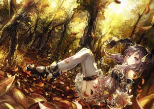 Rating: Safe Score: 172 Tags: dress forest leaves long_hair purple_eyes purple_hair thighhighs tree twintails vima vocaloid yuzuki_yukari User: Flandre93