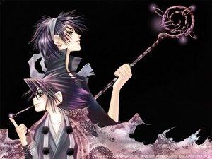 Rating: Safe Score: 11 Tags: behind_master black_eyes black_hair sakamoto_akira tow_kawamura weapon User: Oyashiro-sama