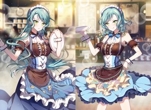 Rating: Safe Score: 79 Tags: 2girls apron aqua_hair bang_dream! bow braids collar dress green_eyes headdress hikawa_hina hikawa_sayo long_hair maid n_n_(vbdpsep) short_hair twins waitress wristwear User: otaku_emmy