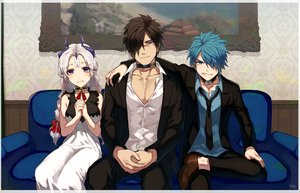 Rating: Safe Score: 29 Tags: aqua_eyes aqua_hair blush braids breasts brown_hair closers collar couch dress gray_hair levia_(closers) long_hair male nata_(closers) pointed_ears purple_eyes scar short_hair signed suit tie trainer_(closers) twintails yukibi User: otaku_emmy