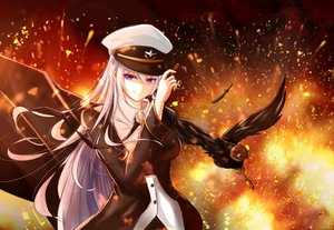 Rating: Safe Score: 55 Tags: animal anthropomorphism azur_lane bird enterprise_(azur_lane) fire hat long_hair military purple_eyes tagme_(artist) uniform white_hair User: BattlequeenYume