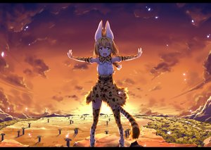 Rating: Safe Score: 3 Tags: animal_ears anthropomorphism blonde_hair blush bow catgirl clouds dress elbow_gloves gloves kemono_friends serval short_hair sky tail thighhighs tree ugume yellow_eyes User: RyuZU
