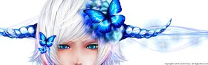Rating: Safe Score: 106 Tags: bicolored_eyes blue_eyes bouno_satoshi butterfly flowers horns original short_hair watermark white_hair User: Flandre93