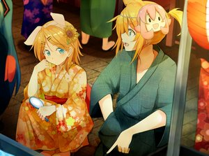 Rating: Safe Score: 95 Tags: aqua_eyes blonde_hair festival flowers hatsune_miku headband japanese_clothes kagamine_len kagamine_rin kazenoko male mask ponytail short_hair summer sunflower takoluka vocaloid yukata User: Flandre93
