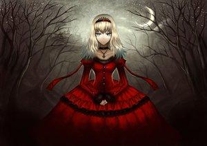 Rating: Safe Score: 217 Tags: alice_in_wonderland aqua_eyes blonde_hair building choker dark dress forest gia moon necklace night queen_of_hearts tiara tree User: HawthorneKitty
