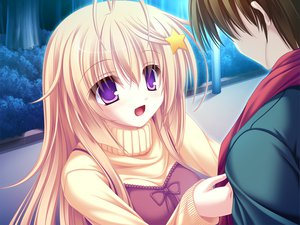 Rating: Safe Score: 11 Tags: blonde_hair game_cg meri_chri mikagami_mamizu purple_eyes seiya_mashiro whirlpool User: Wiresetc