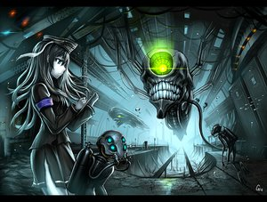 Rating: Safe Score: 167 Tags: animal anthropomorphism blue_eyes bubbles fish gia gray_hair green_eyes ha-class_destroyer hat i-class_destroyer kantai_collection long_hair mask skirt skull underwater uniform water User: SciFi