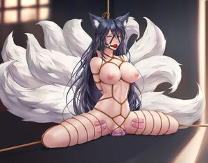 Rating: Explicit Score: 240 Tags: ahri_(league_of_legends) animal_ears black_hair bondage chihunhentai foxgirl gag league_of_legends long_hair multiple_tails nude pussy rope spread_legs tail uncensored yellow_eyes User: BattlequeenYume