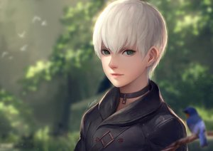Rating: Safe Score: 12 Tags: all_male animal bird male nier nier:_automata realistic short_hair signed stellarism white_hair yorha_unit_no._9_type_s User: luckyluna