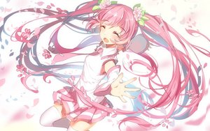 Rating: Safe Score: 89 Tags: bisonbison hatsune_miku jpeg_artifacts long_hair petals pink_hair sakura_miku skirt thighhighs tie twintails vocaloid zettai_ryouiki User: Flandre93