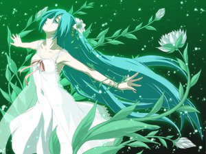Rating: Safe Score: 76 Tags: aqua_eyes aqua_hair dress flowers hatsune_miku iga_tomoteru long_hair saya_no_uta vocaloid User: HawthorneKitty
