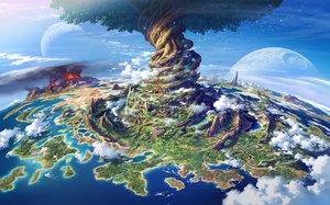 Rating: Safe Score: 111 Tags: clouds moon nobody scenic sekaiju_no_meikyuu sky tagme_(artist) tree water User: RyuZU
