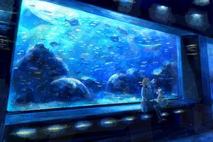 Rating: Safe Score: 110 Tags: animal blue brown_hair fish kneehighs nomiya_(no_38) original scenic school_uniform short_hair skirt teddy_bear User: Flandre93