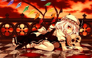 Rating: Safe Score: 91 Tags: bandage blood flandre_scarlet hat lolita_fashion misaki_kurehito red red_eyes short_hair skull touhou white_hair wings User: Elnarutoxxx2020