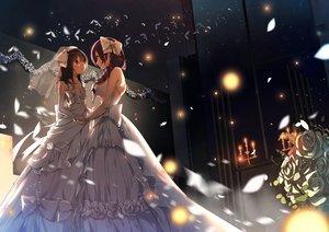 Rating: Safe Score: 140 Tags: 2girls black_hair bow braids dress elbow_gloves flowers gloves headdress itohana love_live!_school_idol_project petals purple_hair red_eyes rose shoujo_ai toujou_nozomi wedding wedding_attire yazawa_nico User: Flandre93
