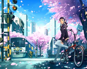 Rating: Safe Score: 45 Tags: bicycle blonde_hair blue_eyes cherry_blossoms katou_akatsuki long_hair original seifuku skirt thighhighs train zettai_ryouiki User: cadenza