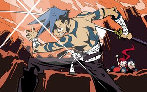 Rating: Safe Score: 24 Tags: kamina simon tengen_toppa_gurren_lagann yoko_littner User: haru3173