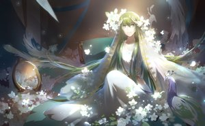 Rating: Safe Score: 14 Tags: animal bird dress enkidu fate_(series) fate/strange_fake flowers green_eyes green_hair long_hair petals tebd_menkin User: RyuZU
