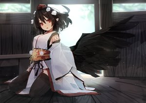 Rating: Safe Score: 43 Tags: dress futatsuki_eru hat japanese_clothes pointed_ears red_eyes ribbons shameimaru_aya short_hair touhou wings User: BattlequeenYume