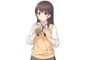 Rating: Safe Score: 44 Tags: blush brown_hair drink food green_eyes long_hair nakamura_sumikage original school_uniform shirt third-party_edit tie white User: otaku_emmy