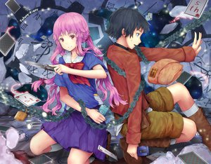 Rating: Questionable Score: 38 Tags: amano_yukiteru gasai_yuno hourainingyou mirai_nikki User: gnarf1975