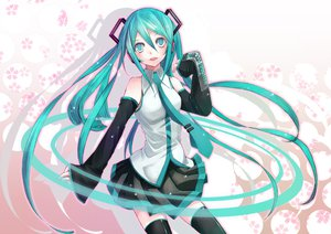 Rating: Safe Score: 32 Tags: aqua_eyes aqua_hair hatsune_miku headphones skirt thighhighs tie twintails vocaloid User: HawthorneKitty