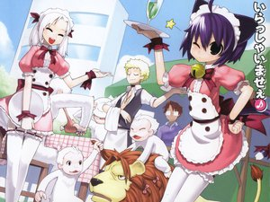 Rating: Questionable Score: 3 Tags: animal animal_ears bell blonde_hair bow catgirl drink food glasses headdress kyouran_kazoku_nikki lion maid midarezaki_chika midarezaki_kyouka midarezaki_ouka midarezaki_teika purple_hair ribbons tail thighhighs white_hair wink User: 秀悟