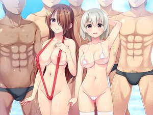 Rating: Questionable Score: 66 Tags: bikini blush breasts brown_hair dark_skin gray_hair group male navel original pink_eyes short_hair swimsuit thighhighs topless totokichi underboob User: BattlequeenYume