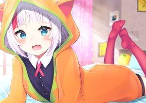 Rating: Safe Score: 75 Tags: animal_ears aqua_eyes bed blush fang hassaku_yuzu hoodie nijisanji short_hair tagme_(artist) thighhighs white_hair User: luckyluna
