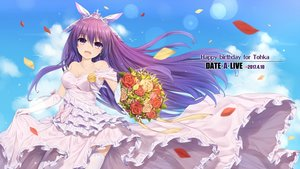 Rating: Safe Score: 84 Tags: bow breasts cleavage clouds date_a_live dress elbow_gloves flowers garter_belt gloves long_hair necklace neps.l petals purple_eyes purple_hair sky wedding_attire yatogami_tohka User: RyuZU