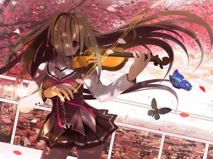 Rating: Safe Score: 99 Tags: brown_hair butterfly g_senjou_no_maou instrument long_hair purple_eyes rinse seifuku usami_haru violin User: Dust