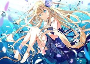 Rating: Safe Score: 47 Tags: aqua_eyes barefoot blonde_hair blush bubbles dress flowers long_hair necklace original rose tagme_(artist) underwater water User: BattlequeenYume