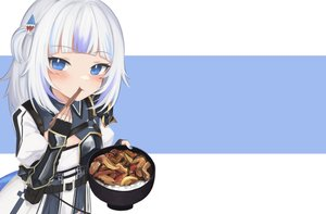 Rating: Safe Score: 20 Tags: armor blue_eyes blush cosplay dress elbow_gloves flat_chest food gawr_gura gloves hololive klaius short_hair third-party_edit white_hair User: otaku_emmy