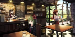 Rating: Safe Score: 34 Tags: book brown_eyes brown_hair drink flowers green_eyes green_hair horns long_hair natori_youkai original ponytail seifuku short_hair tail User: BattlequeenYume