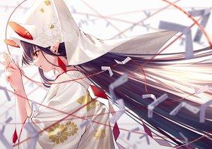 Rating: Safe Score: 67 Tags: animal_ears japanese_clothes kimono long_hair original paper pointed_ears purple_hair red_eyes takubon wedding_attire User: Dreista