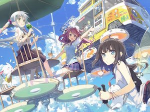 Rating: Safe Score: 60 Tags: black_hair blue_eyes bow clouds drink eretto green_eyes group kantoku kurumi_(kantoku) mizoguchi_keiji purple_hair scan skirt sky twintails white_hair wings User: luckyluna