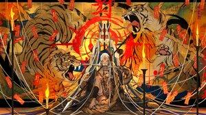 Rating: Safe Score: 43 Tags: animal barefoot fire japanese_clothes katana long_hair mask nanahara_shie necklace ofuda original rope sword tiger weapon white_hair User: otaku_emmy