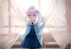 Rating: Safe Score: 139 Tags: blush dress garter lize_helesta long_hair nijisanji paper ponytail purple_eyes school_uniform white_hair yunmi_0527 User: BattlequeenYume