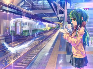 Rating: Safe Score: 128 Tags: animal bird daito green_eyes green_hair kochiya_sanae moriya_suwako school_uniform touhou train yasaka_kanako User: opai