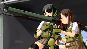 Rating: Safe Score: 20 Tags: 2girls bike_shorts black_hair blush brown_eyes gloves gun military mizuki_ame original short_hair shorts skirt thighhighs weapon zettai_ryouiki User: RyuZU