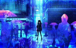Rating: Safe Score: 56 Tags: blue headphones original rain reflection tarbo_(exxxpiation) thighhighs umbrella water zettai_ryouiki User: RyuZU