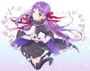 Rating: Safe Score: 73 Tags: bb_(fate) breasts fate/grand_order fate_(series) gloves long_hair nagu purple_eyes purple_hair ribbons skirt thighhighs wink User: RyuZU