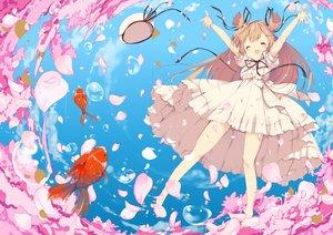 Rating: Safe Score: 86 Tags: animal brown_hair clouds dress fish flowers hat loli long_hair original petals ribbons sky umi_no_mizu water User: Flandre93
