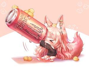 Rating: Safe Score: 92 Tags: animal animal_ears bird blush chibi drink foxgirl honyang long_hair original pink pink_hair tail thighhighs User: BattlequeenYume